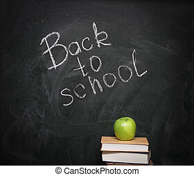 tableau noir, livres, pomme, contre