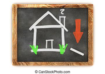 tableau noir, logement, déclin marché