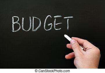 tableau noir, mot écrit, budget