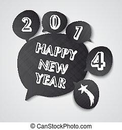 tableau noir, nouveau, parole, année, 2014, bulles, heureux