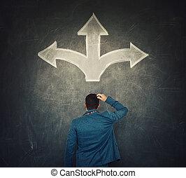 tableau noir, pensée, différent, croquis, carrefour, choose., flèches, mouvement, devant, difficile, choix, spectacles, confondu, sur, trois, vue postérieure, suivant, concept., homme affaires, directions, potentiel, décision, sien