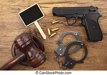 tableau noir, pistolet, noir