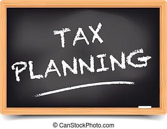 tableau noir, planification, impôt