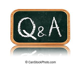 tableau noir, -, réponses, questions, bannière, q&a