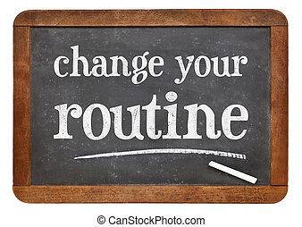 tableau noir, routine, ton, changement, signe