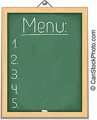 tableau noir, vertical, menu
