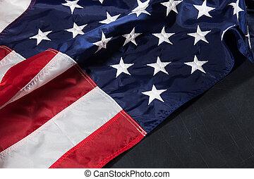tableau, texte, drapeau, américain, espace