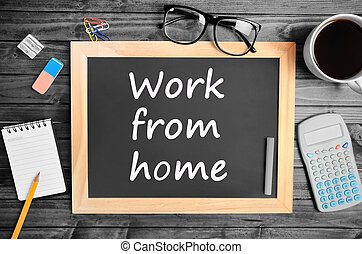 tableau, travail, mots, maison