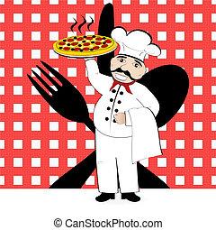tablecl, pizza, coltelleria, chef, in mezzo