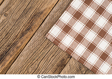 Tablecloth on wooden background,with copy space.