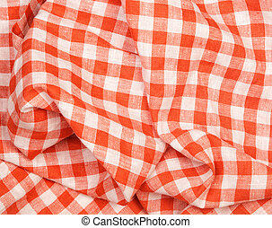 Tablecloth red and white checkered wavy texture background