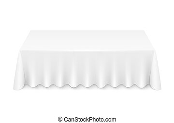... Tablecloth   White Rectangular Table With Tablecloth Vector... ...