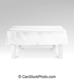 Tablecloth Vector. Realistic Empty Rectangular Table  On White.