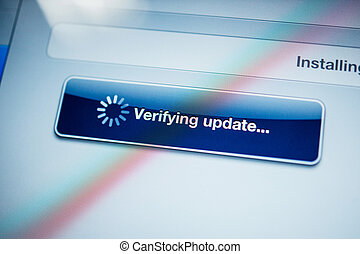 tableet, het verifiëren, scherm, update, computer boodschap
