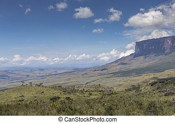 Tablemountain Roraima with clouds, Venezuela, Latin America....
