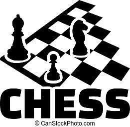 tablero del ajedrez, con, word., obispo, peón, y, horse.