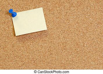 tablero del corcho, con, blanco, nota, unido, con, pulgar,...