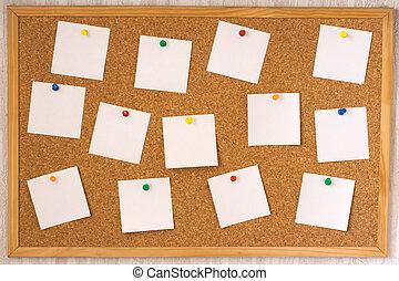 tablero del corcho, notas, blanco