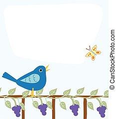 tablero del mensaje, con, pájaro