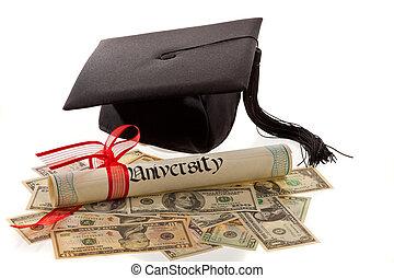 tablero del mortero, diploma, moneda