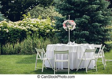 tables, оформление, воздух, свадьба, открытый, банкет
