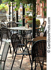Tables and chairs on outdoor patio