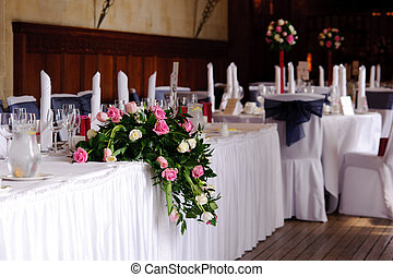 Tables at a wedding reception