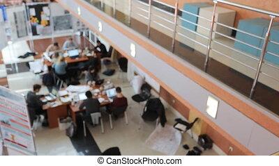 tables, collègues, asseoir, bois, travail, portables, time., jour