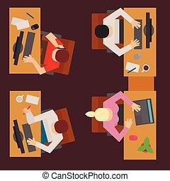 tables, concept, bureau, professionnels, processus, sommet, travail, ouvrier, moderne, plat, vecteur, toile, équipe, table, illustration., vue, lieu travail
