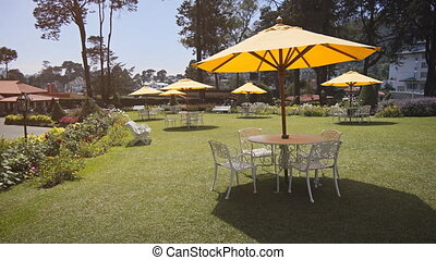 Tables for Outdoor Dining at a Resort in Sri Lanka. 1080p video