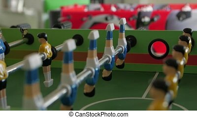 Tables games soccer change focus closeup