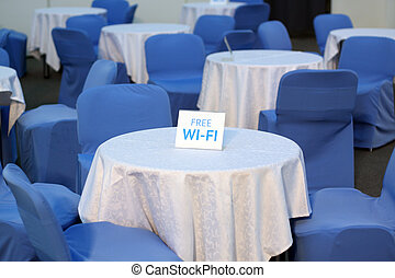 Tables in cafe with free access to the Internet
