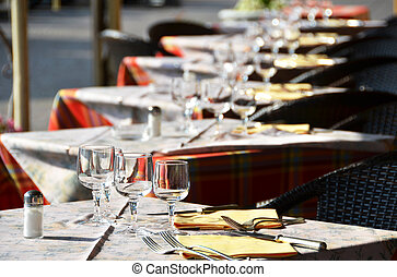 Tables in the restaurant