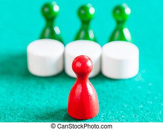 tables, pion, trois, gages, vert, devant, rouges