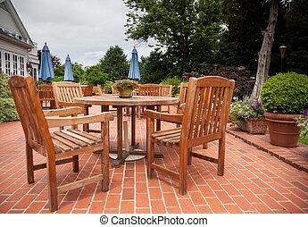 tables, pont préside, teak, brique, patio