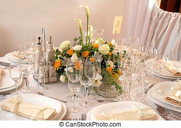 tables, réception, épousant partie, décoré, ou