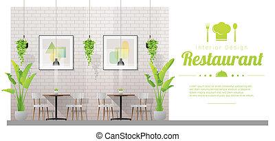 tables, restaurant, chaises, moderne, scène, 3, fond, intérieur