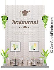 tables, restaurant, chaises, moderne, scène, 4, fond, intérieur