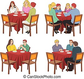 tables, restaurant, gens