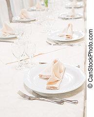 Tables set for celebration or wedding event