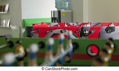 Tables soccer game change focus closeup