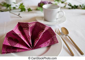 Tableset Dinner Restaurant at a Wedding