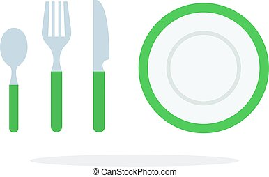 Tablespoons teaspoon fork, knife, plate with green piping ...