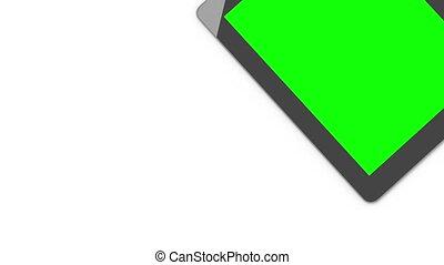 tablet., écran, fond, vert, numérique, blanc