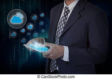 tablet., écran, wifi, main, toucher, homme affaires, nuage, icône