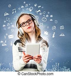 tablet., κορίτσι , συνδεδεμένος , internet