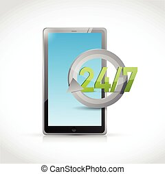 tablet 24 7 service illustration design