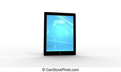 Digitally generated animation of touchscreen tablet with asymmetrical lines on the scree with white background.