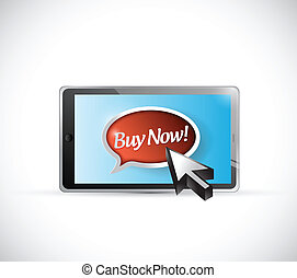 tablet and buy now message illustration design