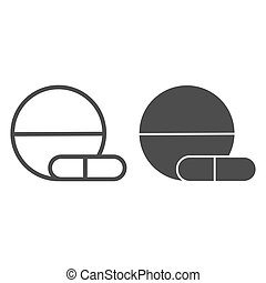Tablet and capsule line and solid icon, Medical concept, Pills sign on white background, Medical tablet and pill icon in outline style for mobile concept and web design. Vector graphics.